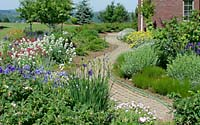Having replaced overgrown evergreens, hundreds of perennials create a colorful path to the front door of this Jamesville, New York residence.