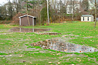 It can be very difficult to grow a nice lawn in areas that remain wet for days after a heavy rain.